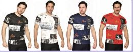 24 Units of MENS FASHION HIGH TREATED COTTON SPANDEX GRAPHIC T SHIRT - Mens T-Shirts