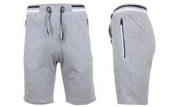 24 Units of Men's Fleece Lounge Sweat Shorts with Zipper Pockets & Trim Tech Design Solid Heather Gray - Mens Shorts