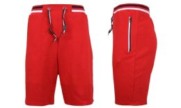 24 Units of Men's Fleece Lounge Sweat Shorts with Zipper Pockets & Trim Tech Design Solid Red - Mens Shorts