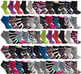 60 Units of Yacht & Smith Womens Low Cut, No Show Ankle Footie Casual Sock Fun Socks Assorted Printed Ankle Socks Size 9-11 - Womens Ankle Sock
