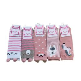 144 Units of Ladies Teens Thin Casual Ankle Sock Cute Animal - Womens Ankle Sock