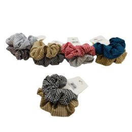 120 Units of 2 Piece Gingham Scrunchie - Hair Scrunchies