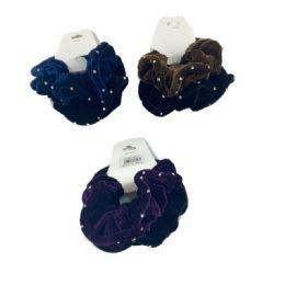 120 Units of 2 Piece Velvet Scrunchie with Rhinestones - Hair Scrunchies