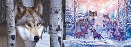 100 Units of 3D Picture Wolf with Tree Snowy Wolf Family - Home Decor