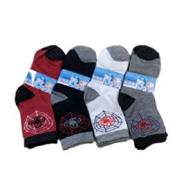 144 Units of Boys Quarter Socks Spider Web - Boys Ankle Sock