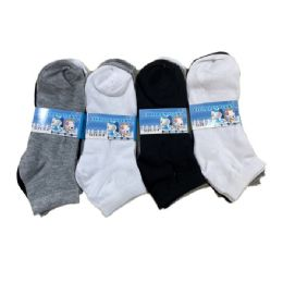 144 Units of Boys Anklets Black Grey And White - Boys Ankle Sock