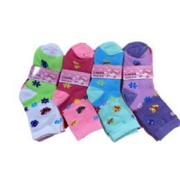 144 Units of Girls Quarter Socks In Butterfly Pattern - Girls Ankle Sock