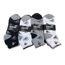 60 Units of Skull Anklets Black Grey And White - Boys Ankle Sock