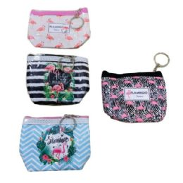 36 Units of Zippered Change Purse Flamingo - Wallets & Handbags