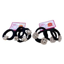 36 Units of Four Piece Hairbands With Assorted Pearl And Rhinestone Accents - PonyTail Holders