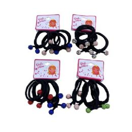 36 Units of Four Piece Elastic Hairbands With Colored Rhinestone Balls - PonyTail Holders