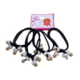 36 Units of Four Piece Elastic Hairbands with White Rhinestone Beads - PonyTail Holders