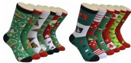 360 Units of Assorted Printed Christmas Crew Socks - Womens Crew Sock