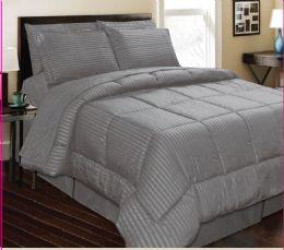 6 Units of 3 Piece Embossed Comforter Set Queen Grey Only Comforter Plus 2 Shams - Comforters & Bed Sets
