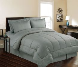 3 Units of 8 Piece Embossed Stripe Bed in a Bag King Size In Grey - Comforters & Bed Sets