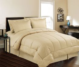 3 Units of 8 Piece Embossed Stripe Bed in a Bag King Size In Mocha - Comforters & Bed Sets