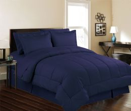 3 Units of 8 Piece Embossed Stripe Bed in a Bag King Size In Navy - Comforters & Bed Sets