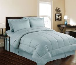 3 Units of 8 Piece Embossed Stripe Bed in a Bag King Size In Ocean Blue - Comforters & Bed Sets