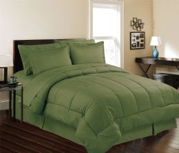 3 Units of 8 Piece Embossed Stripe Bed in a Bag King Size In Sage - Comforters & Bed Sets