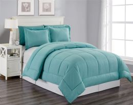 3 Units of 8 Piece Embossed Stripe Bed in a Bag King Size In Turquoise - Comforters & Bed Sets