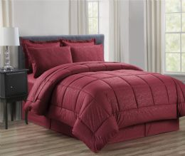 3 Units of 8 Piece Embossed Vine Bed in a Bag Queen In Burgandy - Comforters & Bed Sets