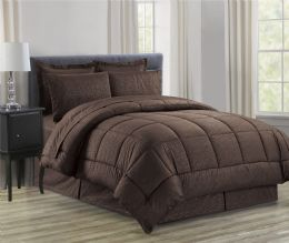 3 Units of 8 Piece Embossed Vine Bed in a Bag Queen In Chocolate - Comforters & Bed Sets