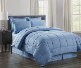 3 Units of 8 Piece Embossed Vine Bed in a Bag Queen In Ocean Blue - Comforters & Bed Sets