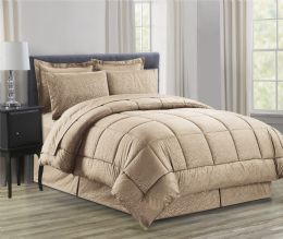 3 Units of 8 Piece Embossed Vine Bed in a Bag Queen In Mocha - Comforters & Bed Sets