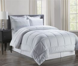 3 Units of 8 Piece Embossed Vine Bed in a Bag Size King In White - Comforters & Bed Sets