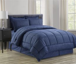 3 Units of 8 Piece Embossed Vine Bed in a Bag Size King In Navy - Comforters & Bed Sets
