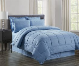 3 Units of 8 Piece Embossed Vine Bed in a Bag King Size In Ocean Blue - Comforters & Bed Sets