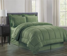 3 Units of 8 Piece Embossed Vine Bed in a Bag King Size In Sage - Comforters & Bed Sets