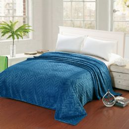 10 Units of Leaf Etched Blanket Queen Size In Blue - Comforters & Bed Sets