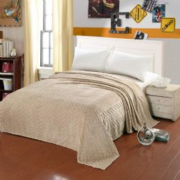 10 Units of Leaf Etched Blanket Queen Size In Beige - Comforters & Bed Sets