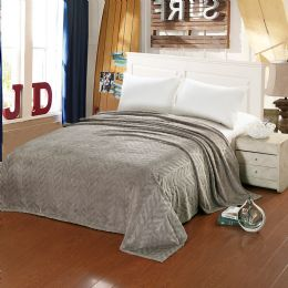 10 Units of Leaf Etched Blanket Queen Size In Grey - Comforters & Bed Sets