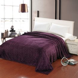10 Units of Leaf Etched Blanket Queen Size In Purple - Comforters & Bed Sets