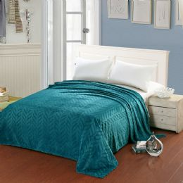 10 Units of Leaf Etched Blanket Queen Size In Teal - Comforters & Bed Sets