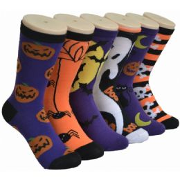 360 Units of Ladies Halloween Printed Crew Socks Size 9-11 - Womens Holiday Themed Socks