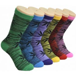 360 Units of Ladies Weed Printed Crew Socks Size 9-11 - Womens Crew Sock