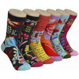 360 Units of Ladies Colorful Printed Crew Socks Size 9-11 - Womens Crew Sock