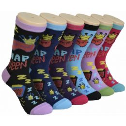 360 Units of Ladies Lounge Printed Crew Socks Size 9-11 - Womens Crew Sock