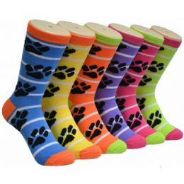 360 Units of Ladies Paw Print Crew Socks Size 9-11 - Womens Crew Sock