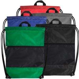 48 Units of 18 Inch Drawstring Bag Large Zippered Section - 5 Colors - Draw String & Sling Packs