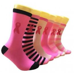 360 Units of Ladies Pink Ribbon Crew Socks Size 9-11 - Womens Crew Sock