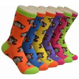 360 Units of Ladies Monkey Crew Socks Size 9-11 - Womens Crew Sock