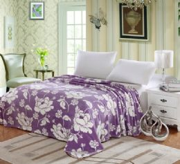 12 Units of Madison Microplush Blanket In Twin Size Floral Assorted Color - Comforters & Bed Sets