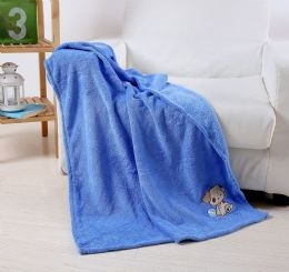 36 Units of Embriodery Baby Blanket In Blue - Comforters & Bed Sets