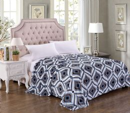 12 Units of Jessica Printed Microplush Blanket Queen Size In Assorted Style - Comforters & Bed Sets
