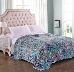 12 Units of Picasso Printed Microplush Blanket Queen Size In Assorted Style - Comforters & Bed Sets