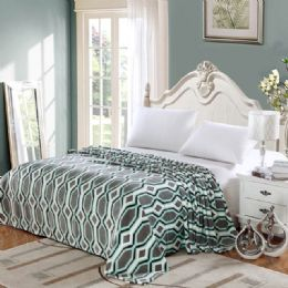 12 Units of Lauren Geometric Microplush Blanket Queen Size In Assorted Style - Comforters & Bed Sets